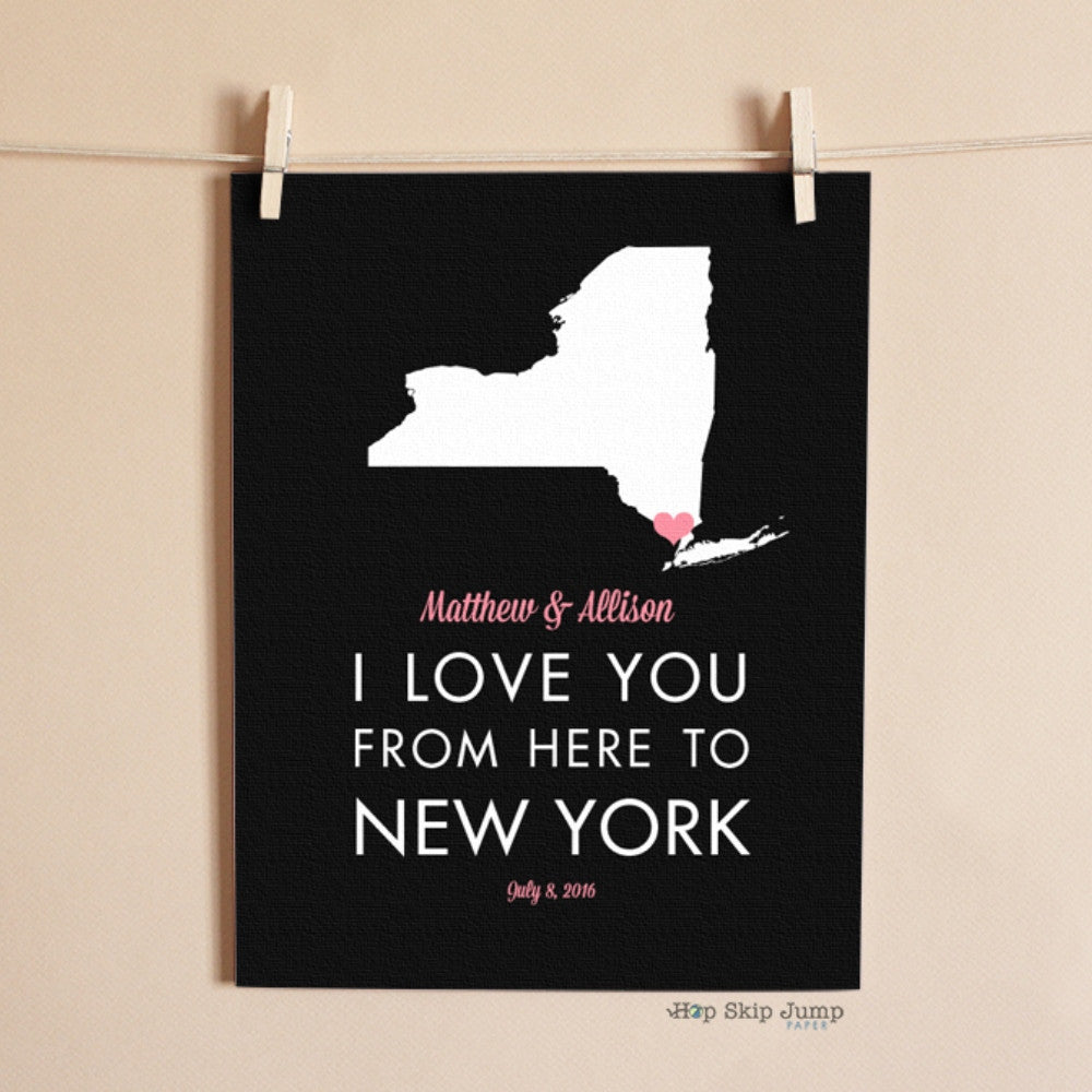 Personalized New York State Map Travel Poster  - Shop Online