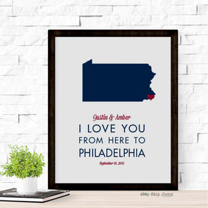 Custom Pennsylvania State Map Travel Poster  - Shop Online