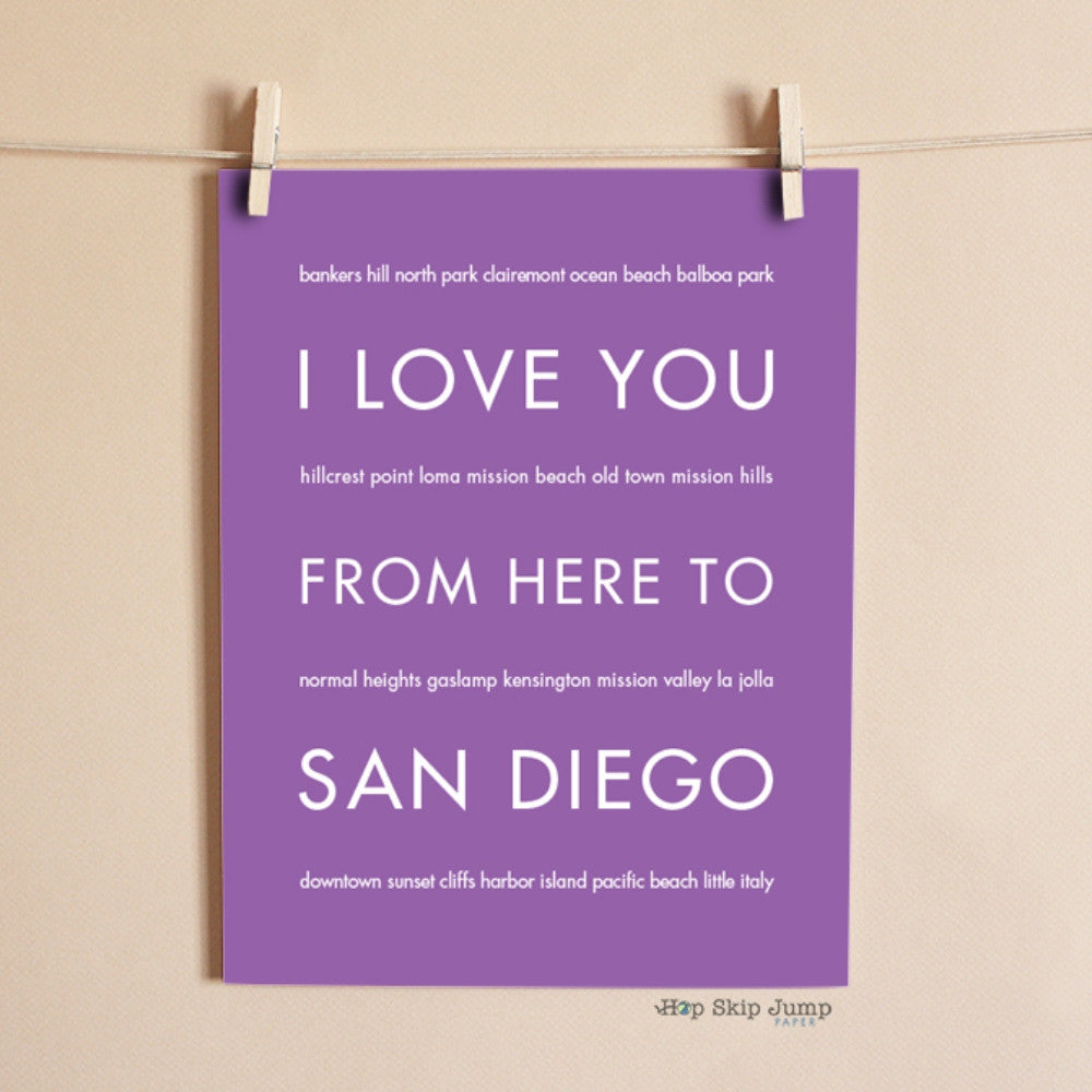 SAN DIEGO City Wall Poster | Gift Idea | HopSkipJumpPaper  - Shop Online