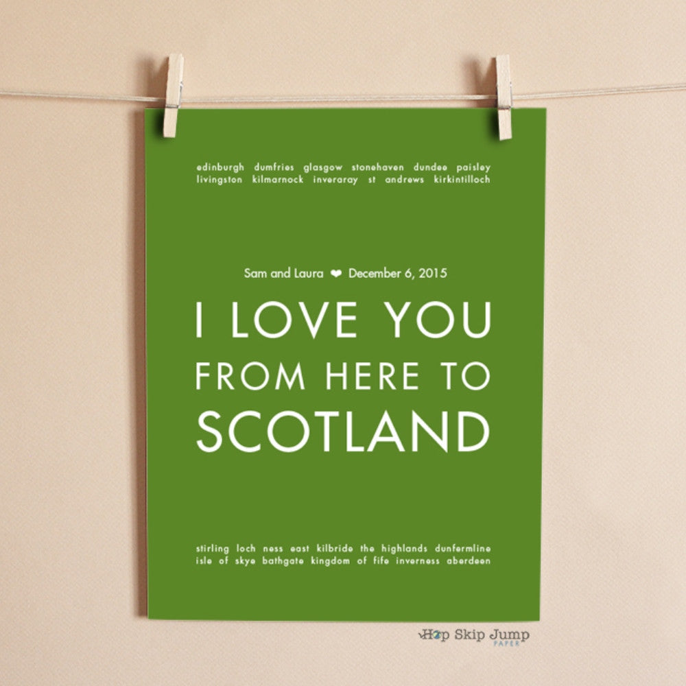 SCOTLAND Custom Wedding Art Print | Gift Idea | HopSkipJumpPaper  - Shop Online