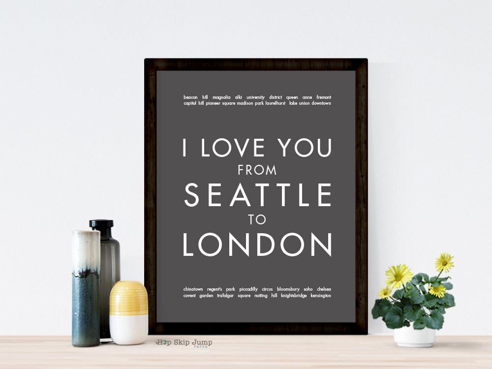 Custom Travel Art Print With Two Locations | HopSkipJumpPaper