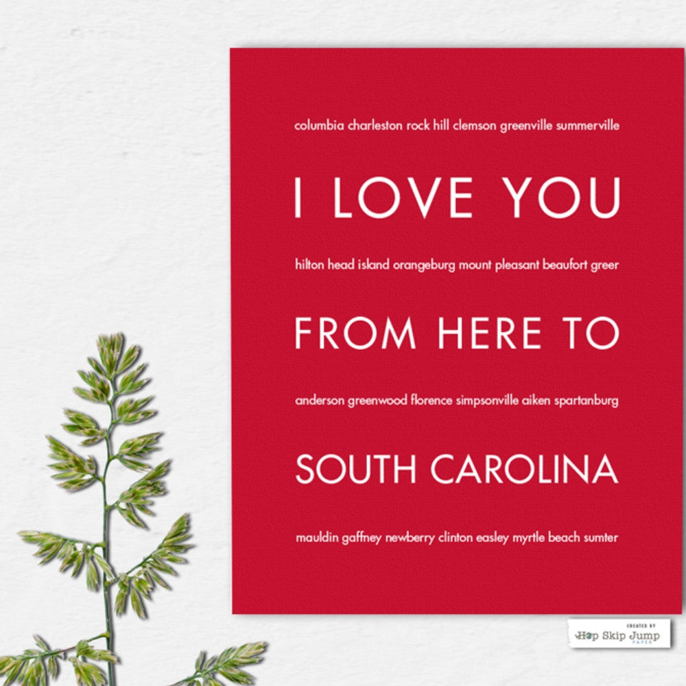 SOUTH CAROLINA State Wall Poster | Gift Idea | HopSkipJumpPaper  - Shop Online