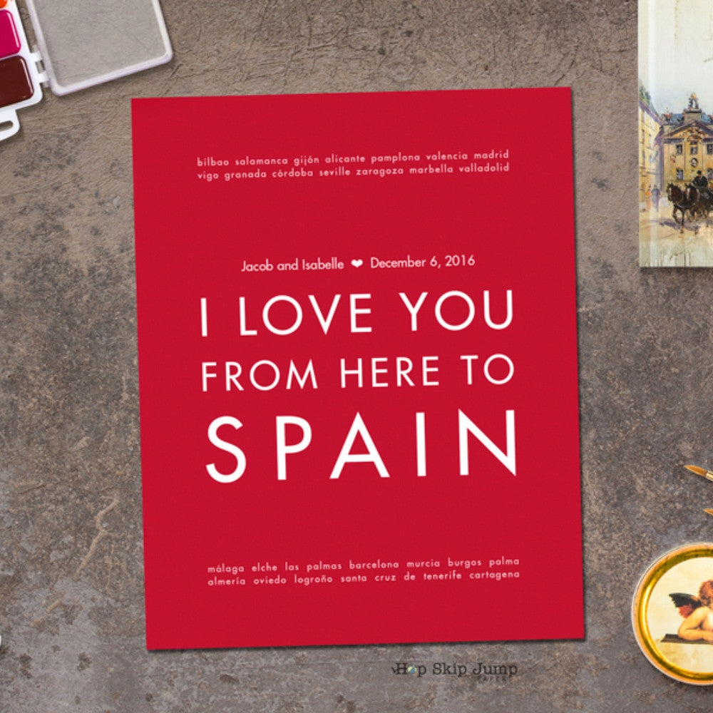 SPAIN Custom Wedding Art Print | Gift Idea | HopSkipJumpPaper  - Shop Online