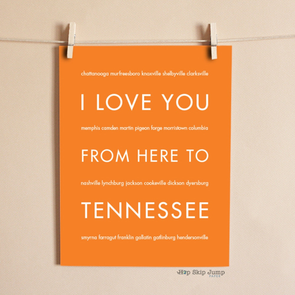 TENNESSEE State Wall Poster | Gift Idea | HopSkipJumpPaper  - Shop Online
