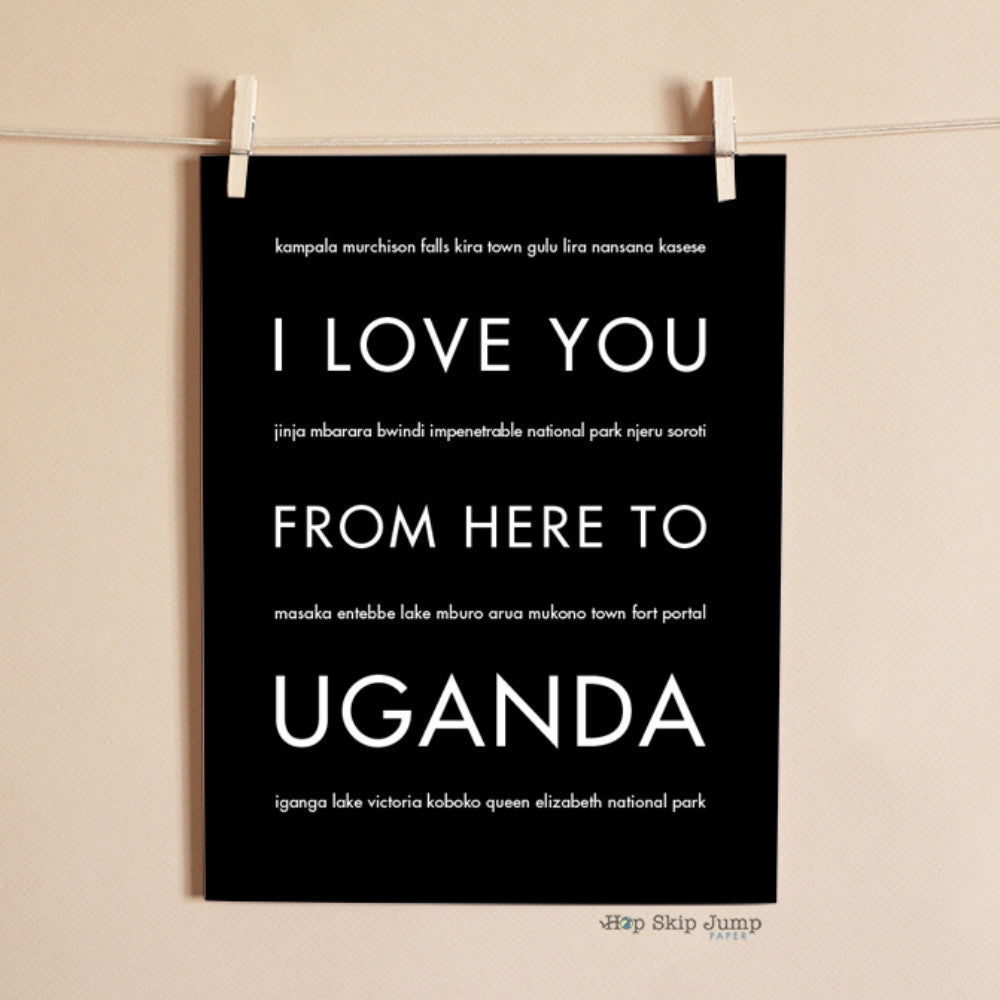 UGANDA Travel Art Print | Gift Idea | HopSkipJumpPaper  - Shop Online