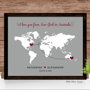 Personalized World Map Travel Journey Poster  - Shop Online