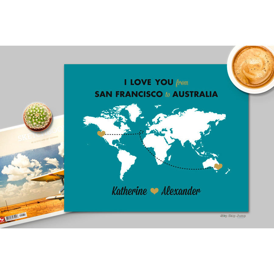 Custom Long Distance Love Poster  - Shop Online