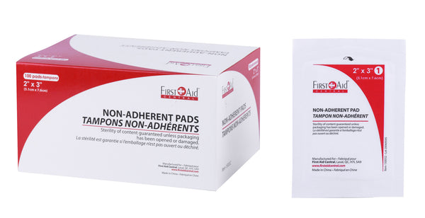 "Sterile non-adherent dressings 2"" x 3"""