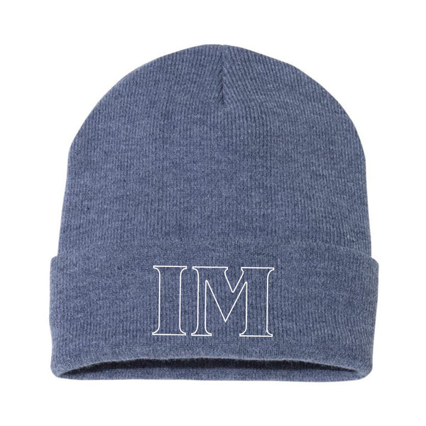 Embroidered Dark Heather Royal Beanie