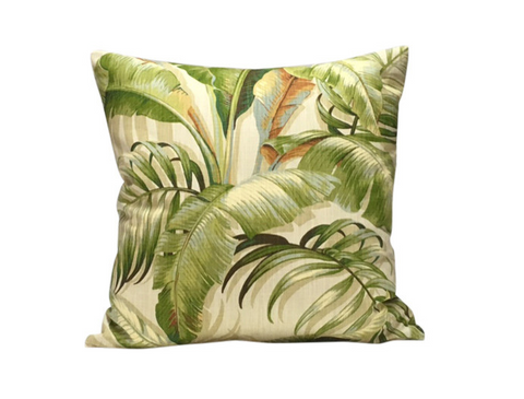 tropical palm print pillow
