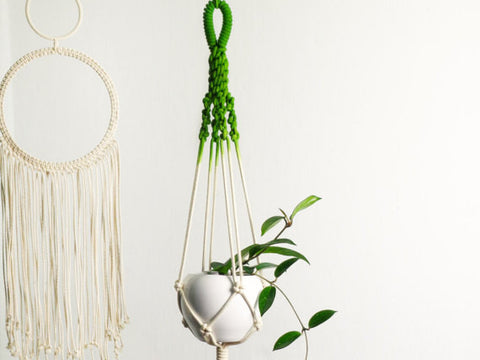 dip-dyed greenery macrame plant holder