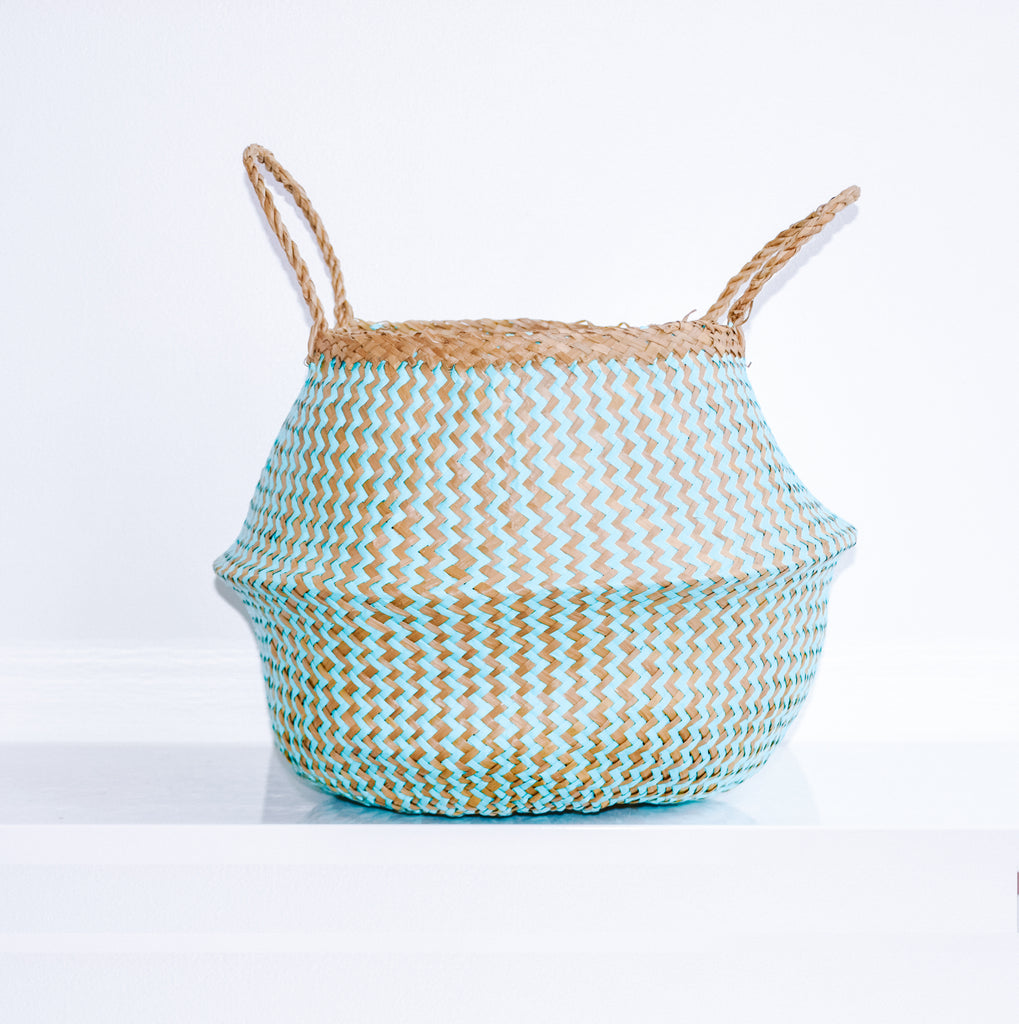 PLUSH Seagrass Basket [Aquamarine]