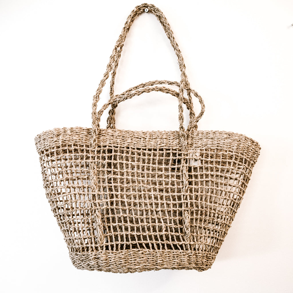 RETREAT Basket Tote, New Moon, Open Weave