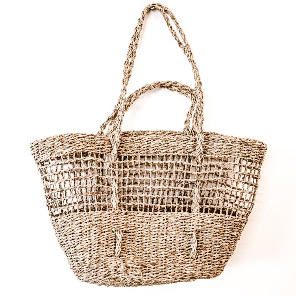 RETREAT Basket Tote, Half Moon Half Weave