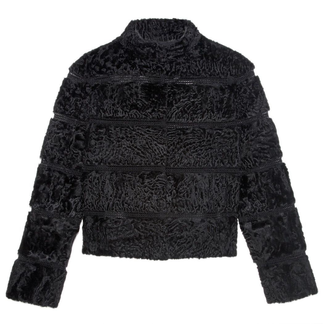 The Armour Persian Lamb and Embroidered Reversible Jacket in Black