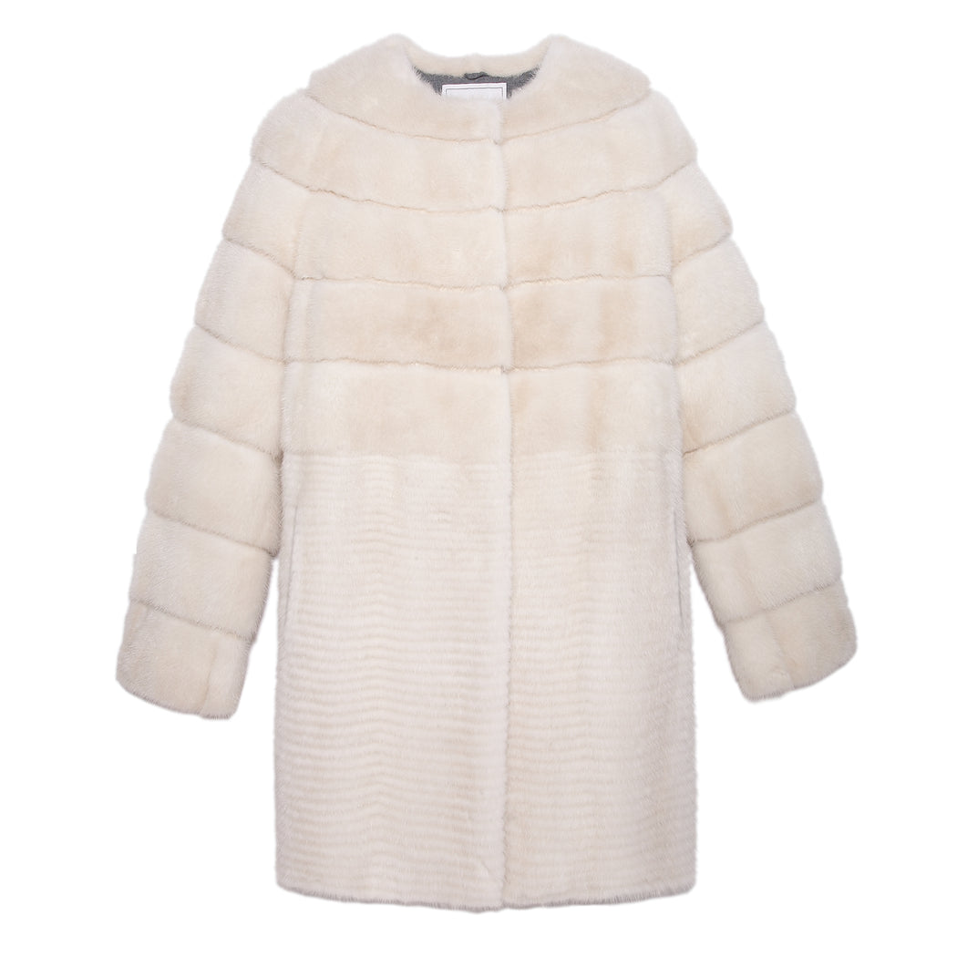 Mink Fur Coat in Pearl - Pologeorgis