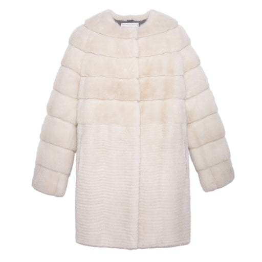 The Lilly Stripped Mink Fur Coat in White