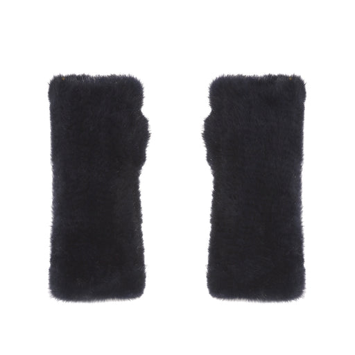 The Short Mink Fingerless Fur Gloves in Navy
