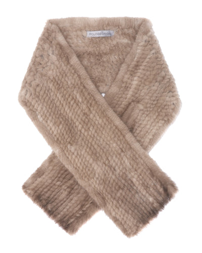 The Whistler Knitted Mink Pull-Through Scarf in Pastel