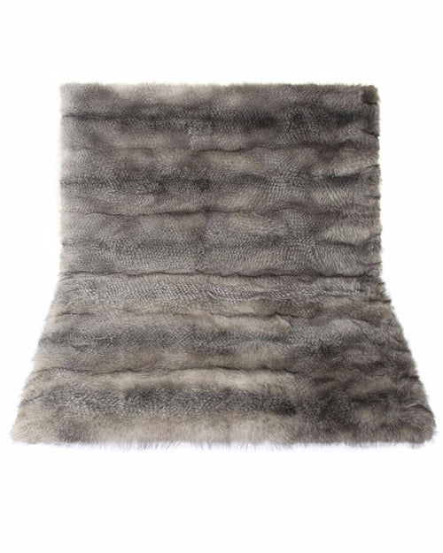 Blue Frost Fox Fur Throw