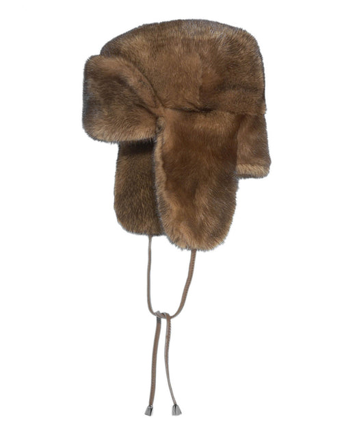 Dyed Mink Trapper Hat in Brown