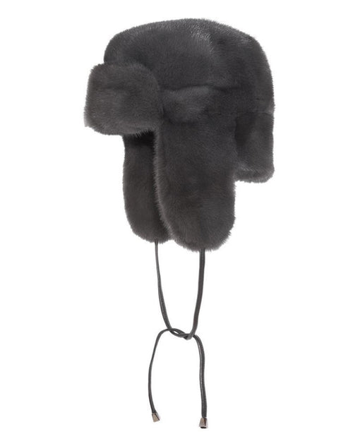 Dyed Mink Trapper Hat in Grey