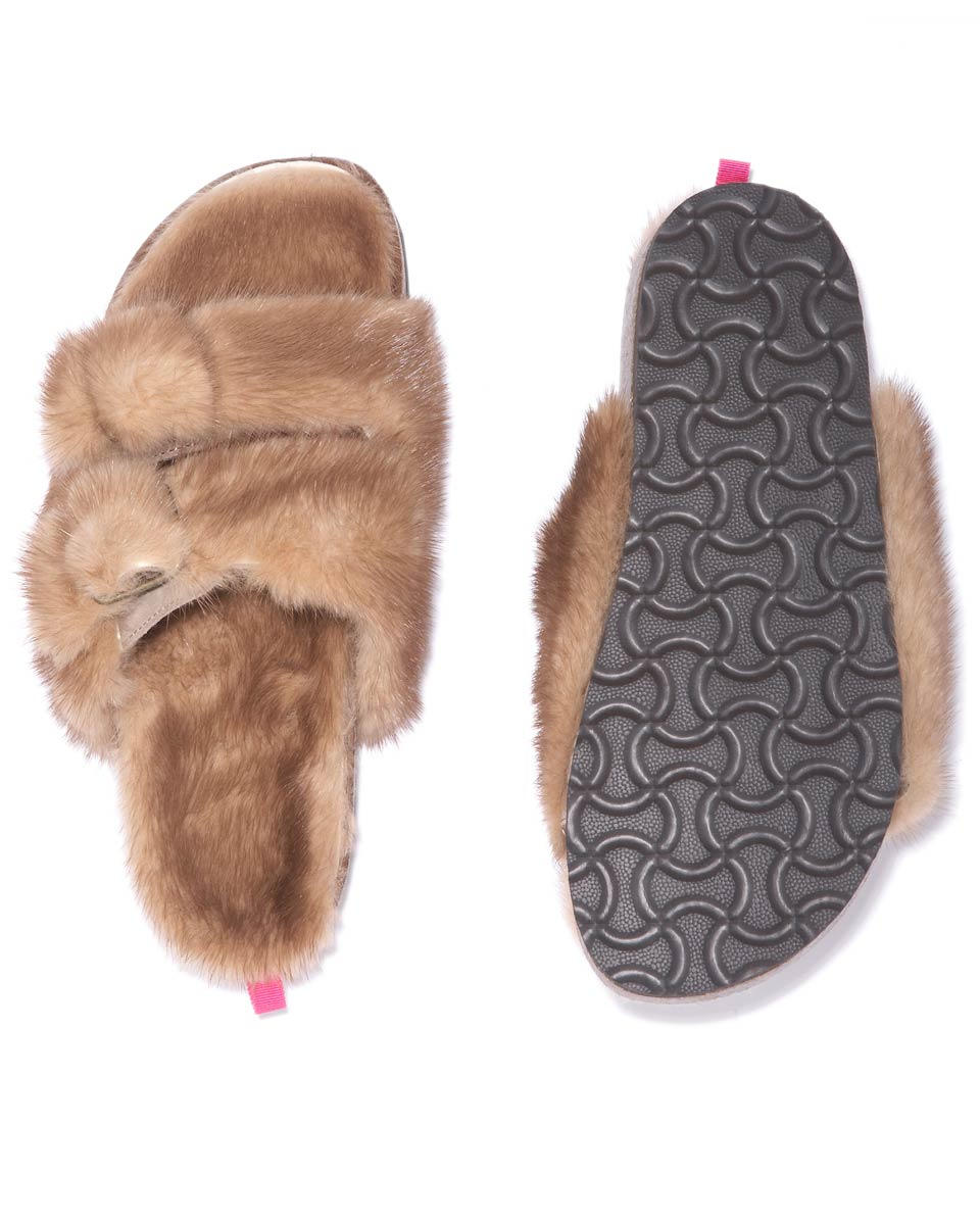 Fur Slippers in Pastel - Kelly Bensimon