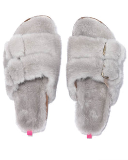 Fur Slippers in Saphire