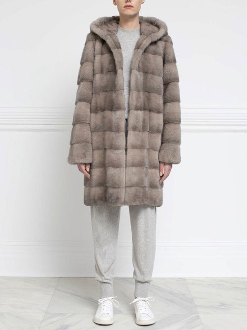 Hooded Mink Fur Coat - Pologeorgis
