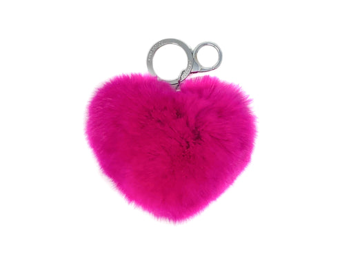 The Heart Fur Keychain in Magenta