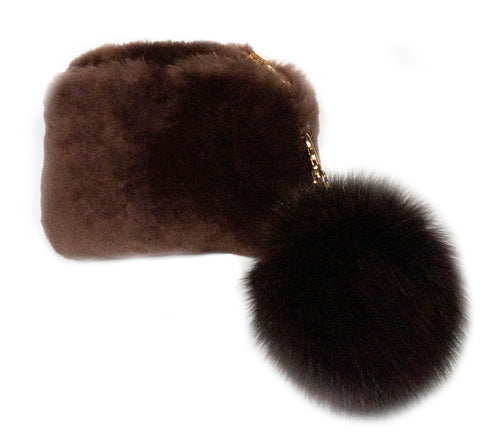Shearling Pouch Bag with Pom Pom
