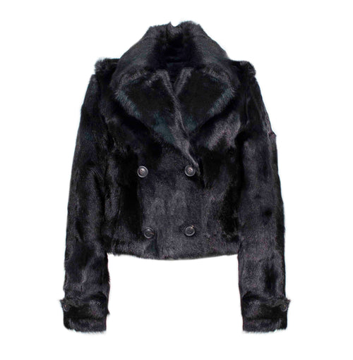 The Brooklyn Double Breasted Goat Fur Jacket in Black