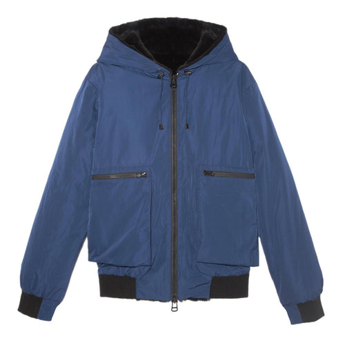 MENS SHEARED RABBIT JACKET in Blue