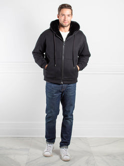 Mens Rabbit Lined Hooded Zip Sweatshirt in Black