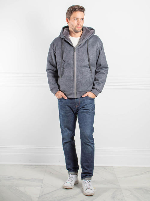 Mens Rabbit Lined Hooded Zip Sweatshirt in Grey