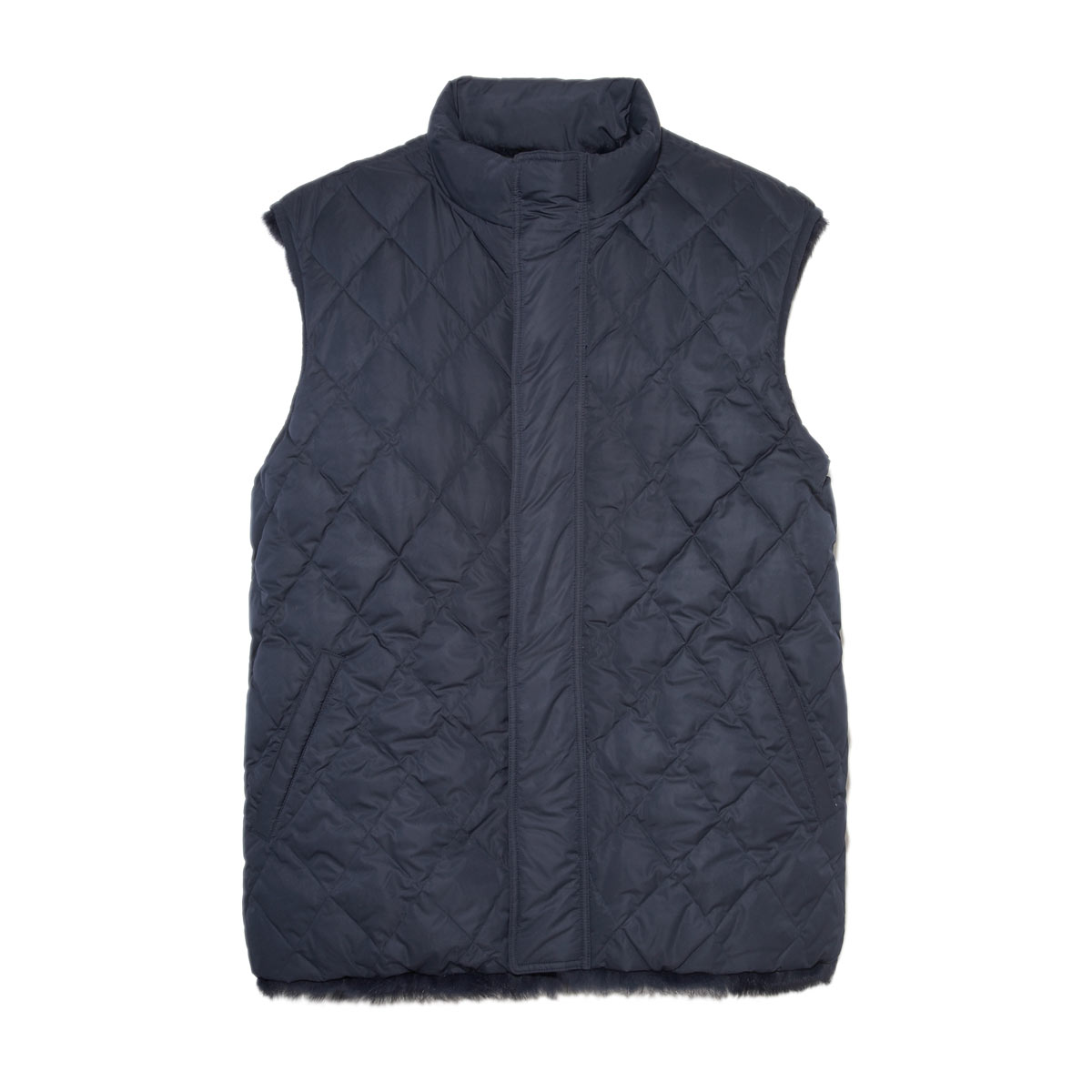 Mens Sheared Mink Lined Puffer Vest in Navy