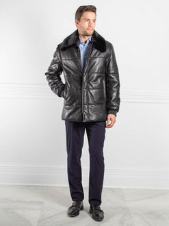 Mens Leather and Mink Puffer Coat