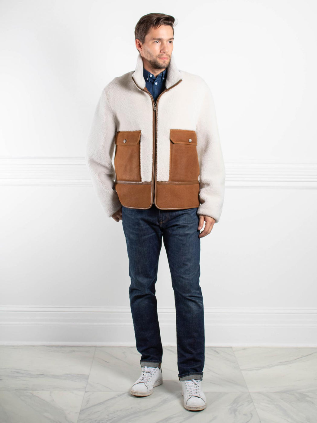 Mens Merino Wooly Lamb Shearling Fur Jacket