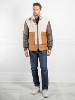 Mens Merino Wooly Lamb Shearling and Suede Fur Jacket