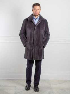 Mens Reversible Sheared Rex Rabbit Lined Puffer Coat