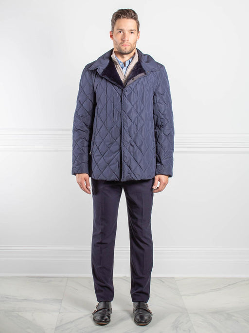 Mens Sheared Rabbit Lined Puffer Jacket in Navy