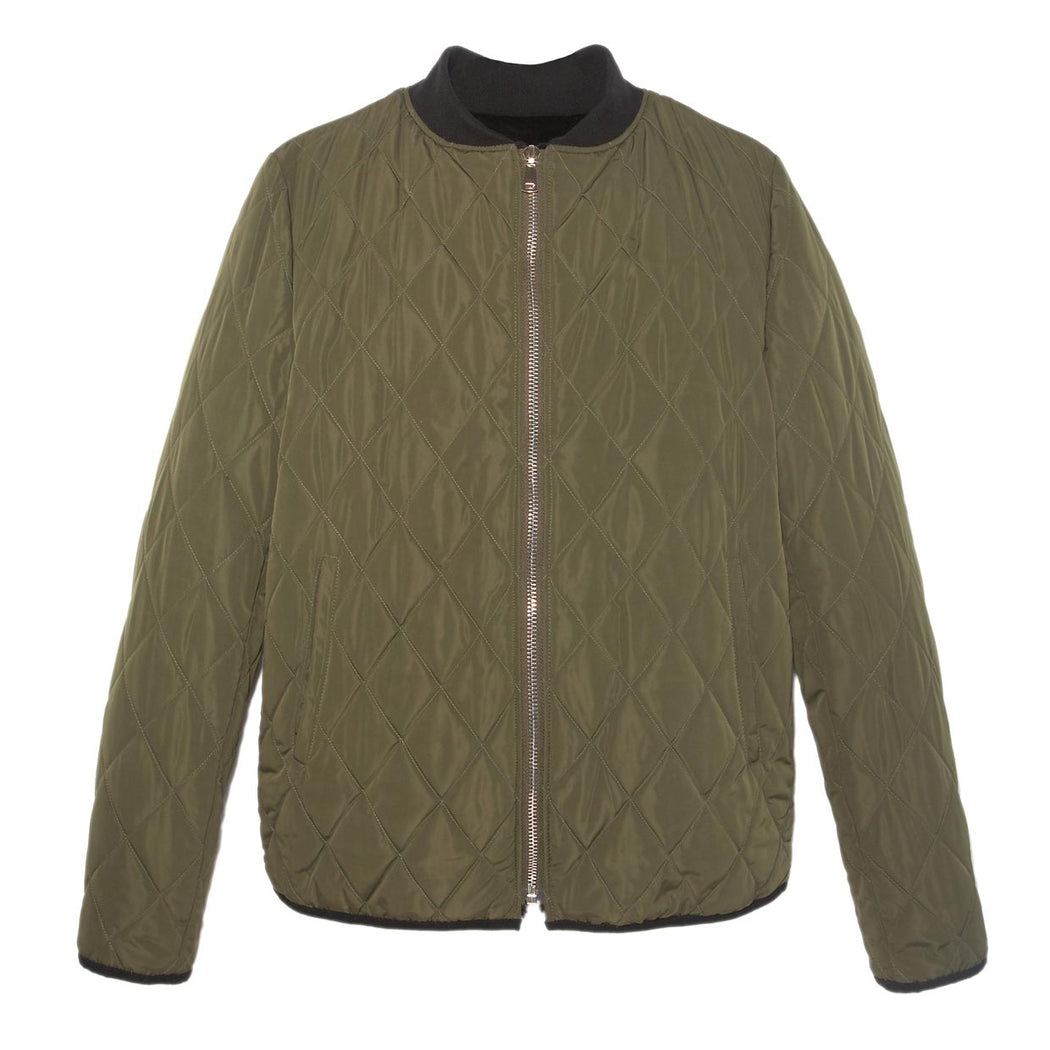 Mens Sheared Rabbit Jacket in Green Color