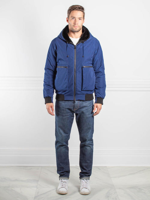 Mens Sheared Rabbit Jacket in Blue and Black