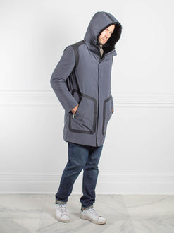 Mens Shearling Hooded Sports Coat