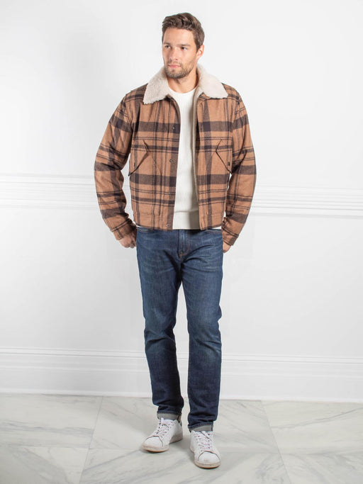 Mens Curly Lamb Plaid Jacket