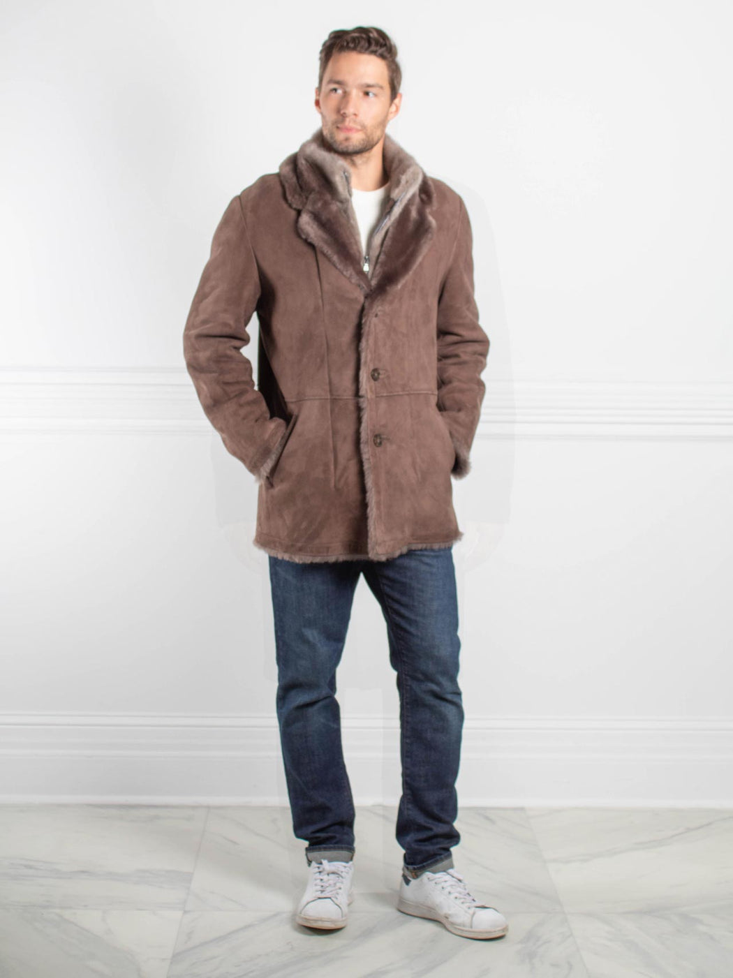 Mens Fur Lined Coat - Pologeorgis