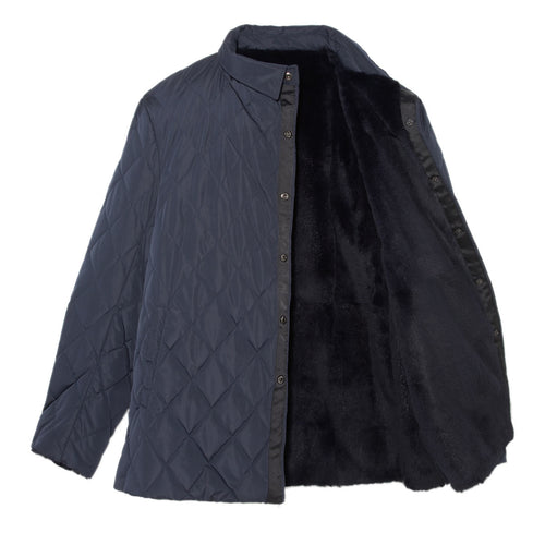 Mens Fur Jacket in Navy Blue