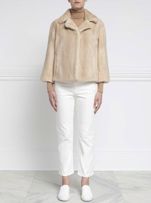 Mink Fur Jacket in Palomino _ Pologeorgis