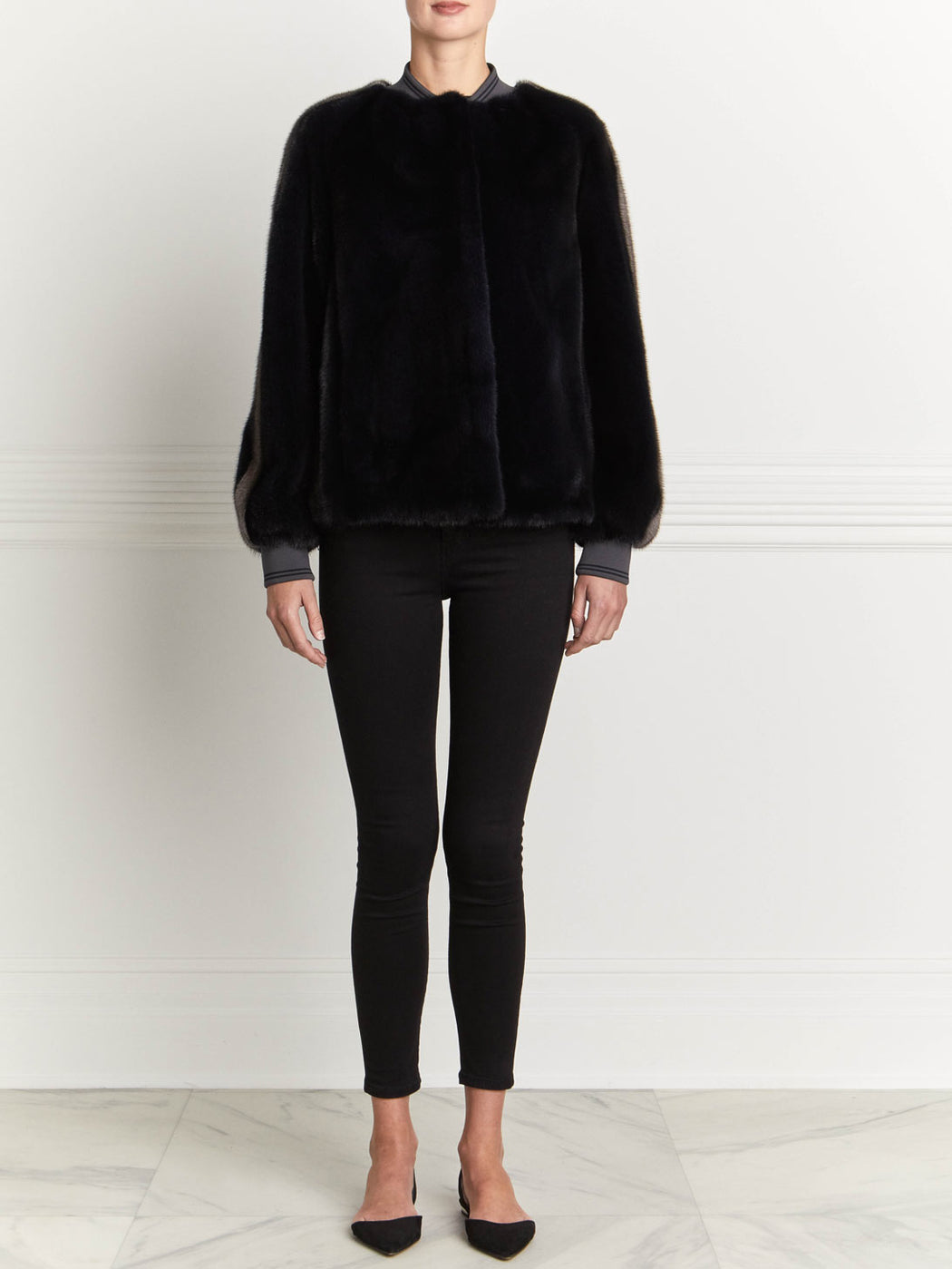 Mink Bomber Jacket in Midnight Blue