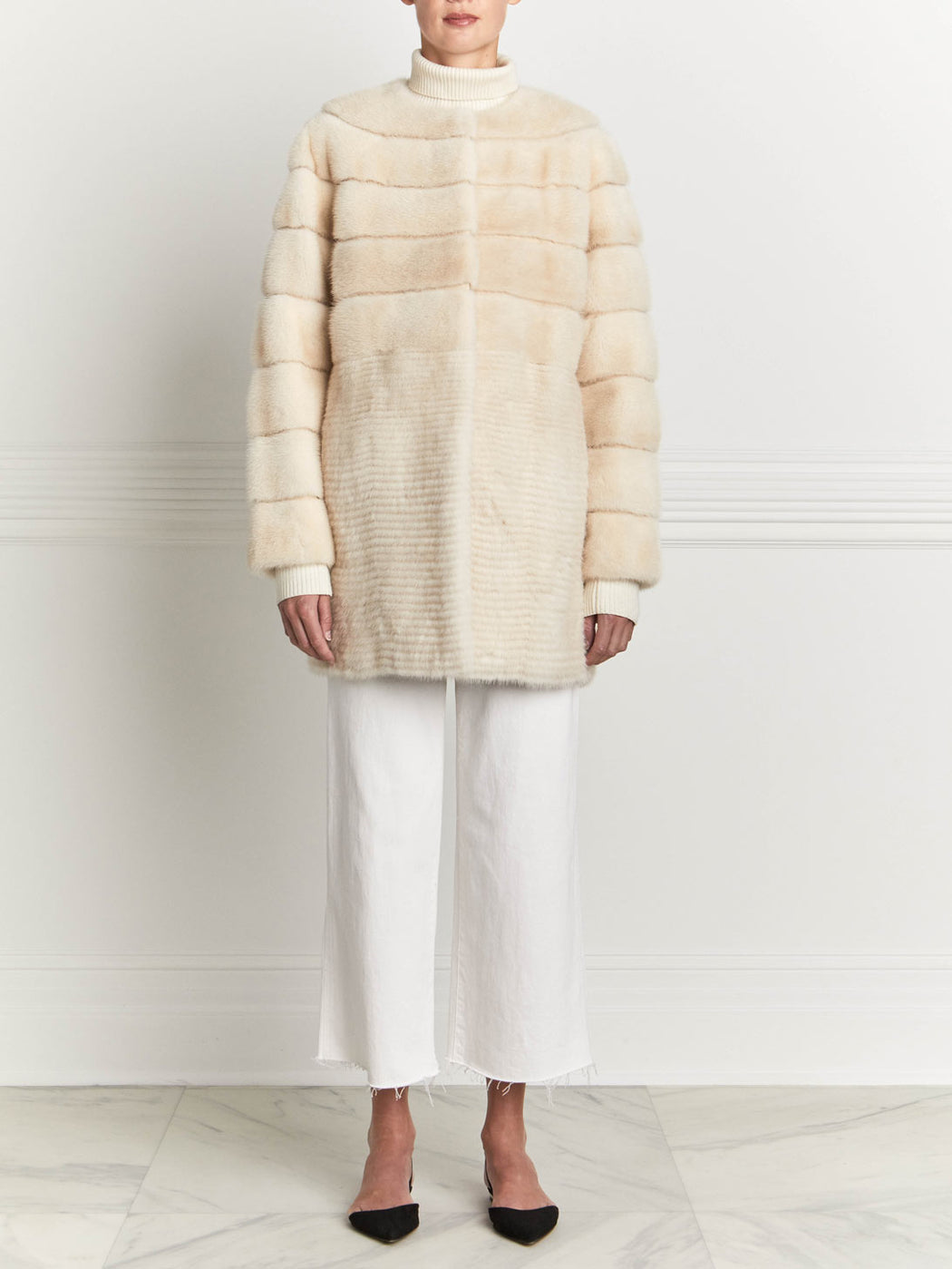 Mink Fur Coat in Pearl
